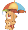 A bear cub and an umbrella vector image