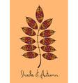 Autumn rowan leaf made of mosaic