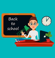 back to school teacher sitting at her desk while vector image