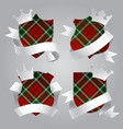 badge set with tartan background white paper vector image