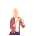 blonde girl drinking coffee or tea young woman vector image vector image