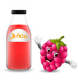bottle of raspberry juice with cute raspberry vector image vector image