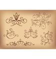 brown floral design elements - set vector image vector image