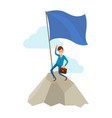 businessman going to success climbing up on rock vector image vector image