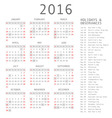calendar grid for 2016 Rigorous design vector image
