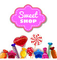 candy sweet shop template set of different colors vector image vector image