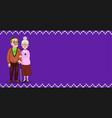 cartoon loving elderly couple on purple fabric vector image vector image