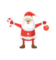 cartoon santa in red hat holding christmas ball vector image vector image