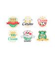 casino and card poker logo design set vector image vector image