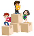 Children holding alphabets on boxes vector image vector image