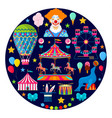 circus and amusement icons vector image vector image