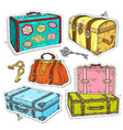 colorful sticker set retro luggage old vintage vector image vector image