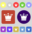 Crown icon sign 12 colored buttons Flat design vector image vector image