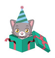 cute gray cat character vector image vector image