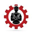 engineer cartoon designed on gear background vector image