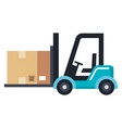 forklift vehicle with box vector image