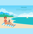 freelance worker on exotic resort colorful card vector image