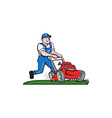 Gardener Mowing Lawn Mower Cartoon vector image vector image