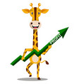 giraffe with green arrow on white background vector image vector image