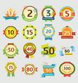 happy birthday badges set anniversary card vector image