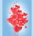 happy valentines day red flying realistic glossy vector image