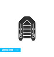 inflatable boat icon in silhouette flat style vector image