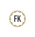 initial letter fk elegance creative logo vector image vector image