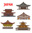 japanese temples shrines buildings japan pagodas vector image vector image