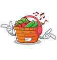 listening music fruit basket character cartoon vector image