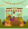 local market place with vegetables and fruits with vector image vector image