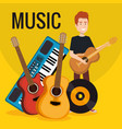 man with synthesizer musical and instruments vector image vector image