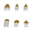 Modern hands drawing houses set on white