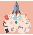on space with rocket education design vector image vector image