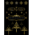 Options gold Christmas tree and snowflakes vector image vector image