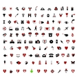 over 100 stylish valentine themed icons vector image vector image