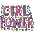 psychedelic hippie girl power lettering vector image vector image