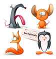 rat mouse fox penguin - set animals vector image
