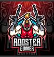 rooster gunner mascot logo design vector image vector image