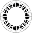 round piano keyboard frame vector image vector image