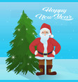 santa claus near fir tree happy new year merry vector image