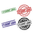 scratched textured student loan stamp seals vector image