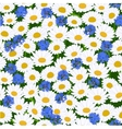 seamless camomiles and cornflower pattern vector image vector image