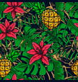 seamless pattern with tropical leaves fruit vector image