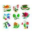 set monster plants icons dangerous tropical vector image vector image
