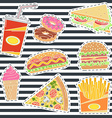 Set of fast food patches vector image