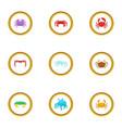 shellfish icons set cartoon style vector image