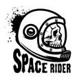space rider human skull in spaceman helmet design vector image vector image