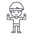 strong boy hands up line icon sign vector image vector image