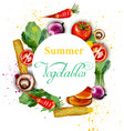 watercolor vegetables wreath delicious vector image vector image