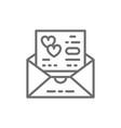 wedding invitation love card envelope line icon vector image vector image